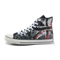 CONVERSE British Flag All Star Union Jack Flag Black Red Athletic Shoes