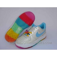 Hot Nike Air Force 1 Colorful Kids White Blue