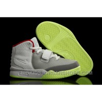 New Nike Air Yeezy 2 Kids Shoes Wolf Grey/Pure Platinum